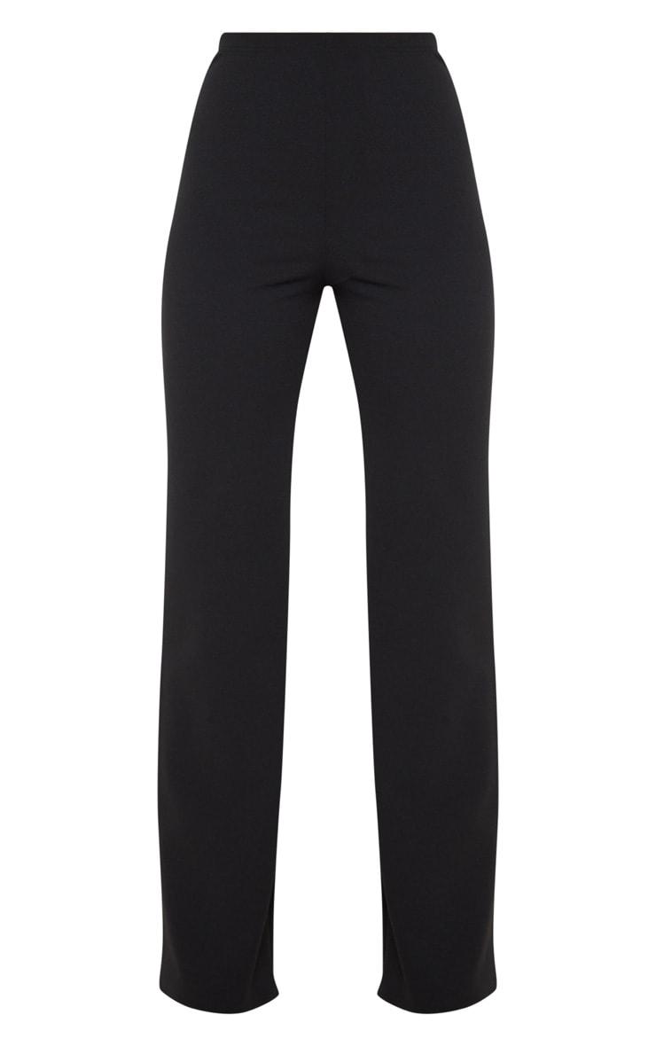 Black Crepe High Waisted Wide Leg Pants 3