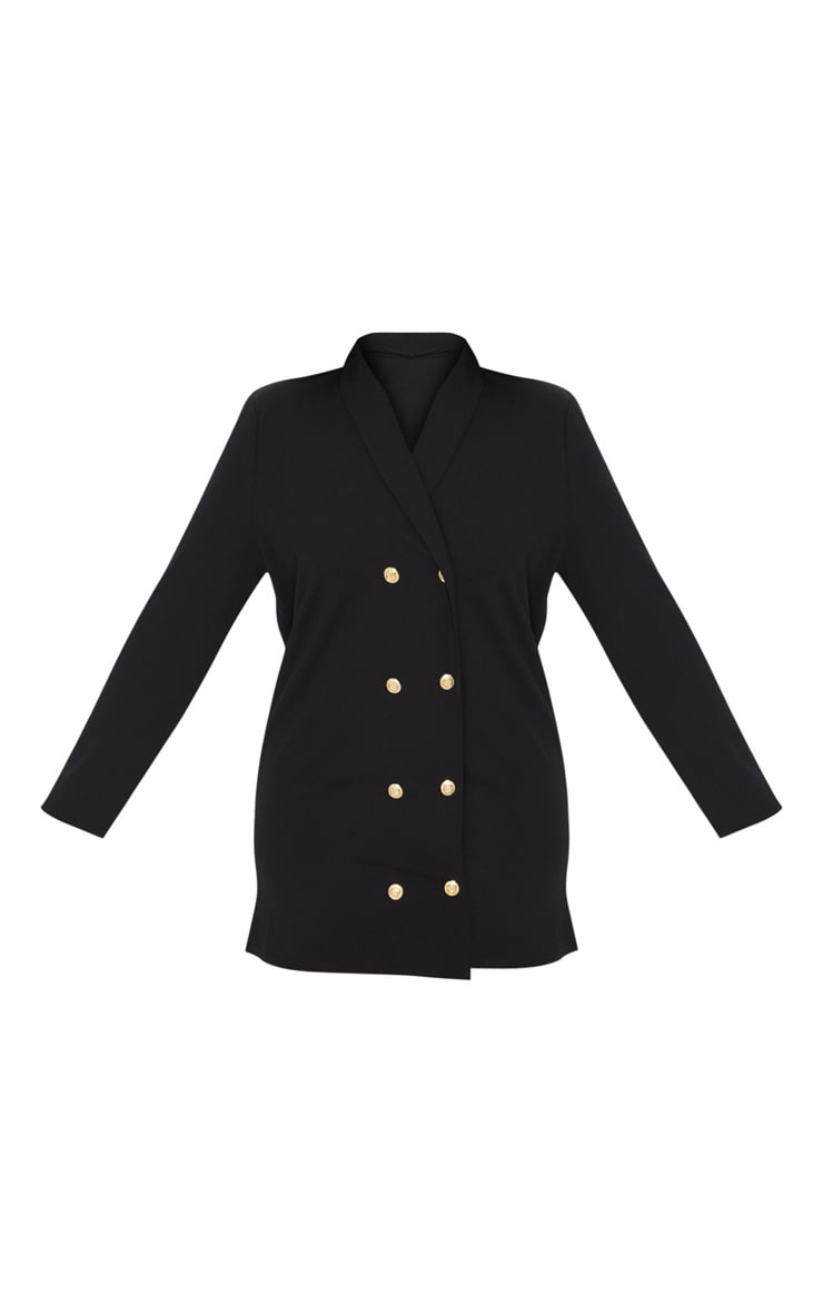 Plus Black Gold Button Oversized Blazer Dress 3