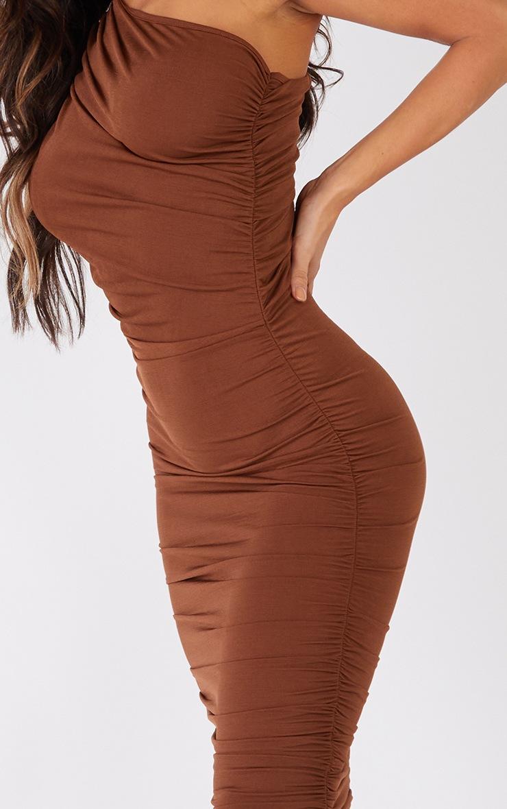 Petite Chocolate Slinky Ruched One Shoulder Longline Midi Dress 4