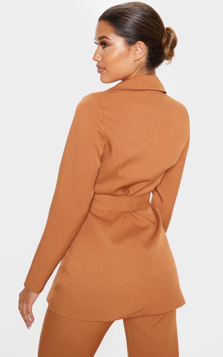 Camel Belted Long Line Blazer 2