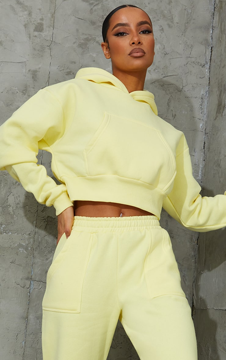 Yellow Pocket Front Cropped Hoodie 1