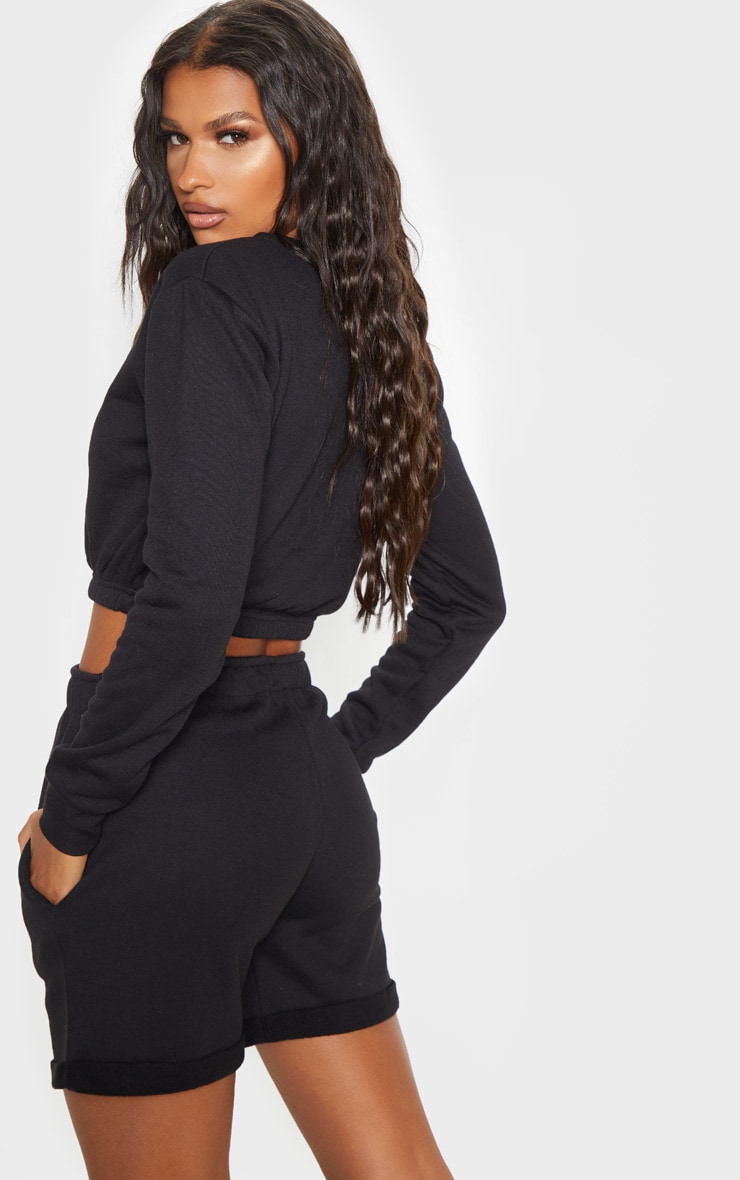 Black Crew Neck Elasticated Hem Sweater 2