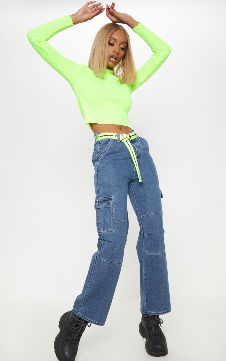 Neon Lime High Neck Knitted Rib Top 4