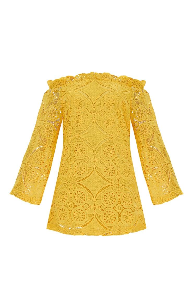 Gracie Yellow Bardot Lace Swing Dress 3