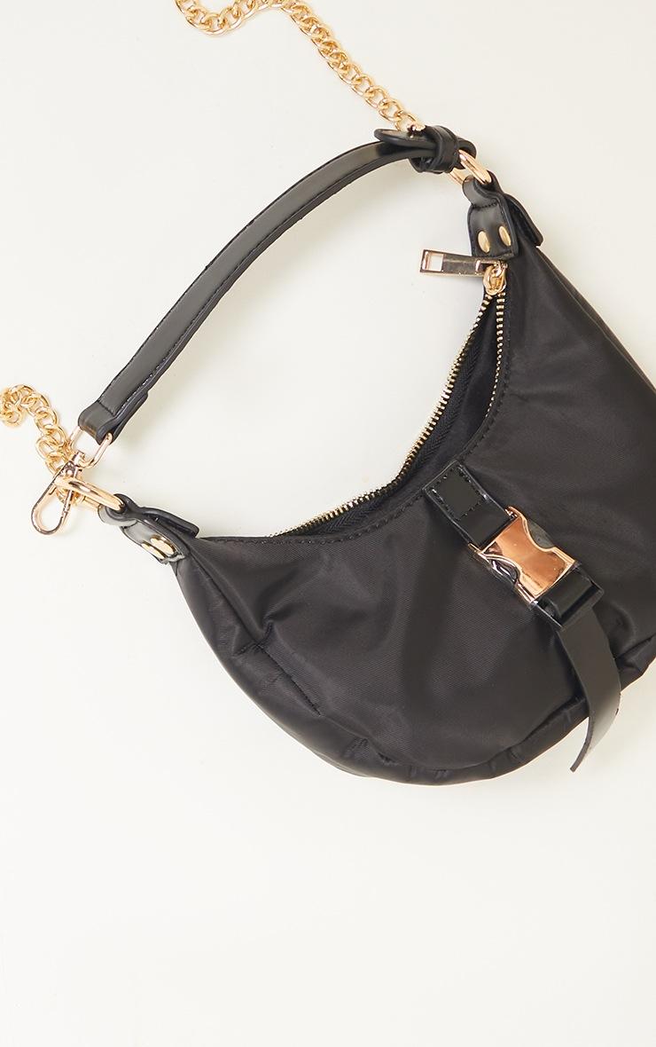 Black Nylon Rounded Front Gold Buckle Shoulder Bag 3