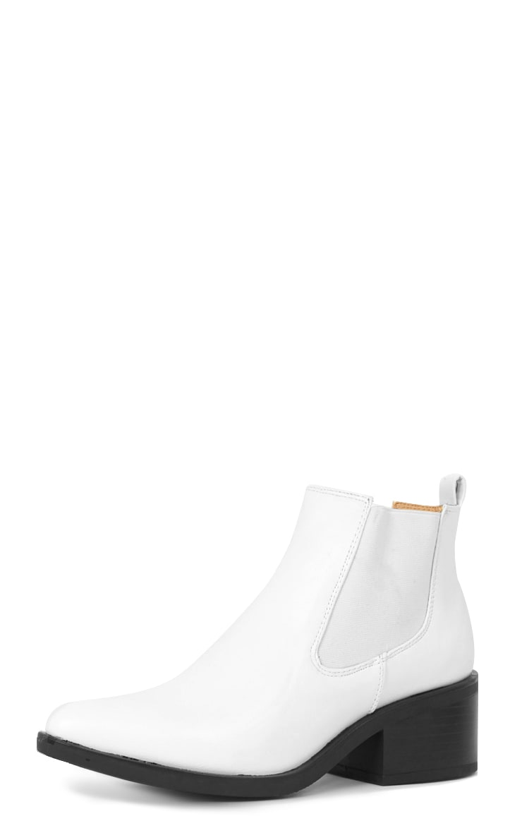 Kimi White Pointed Chelsea Boot   3