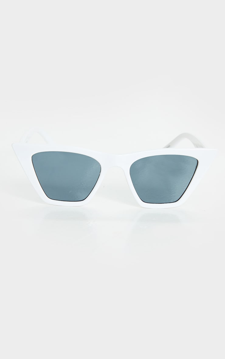 White Square Frame Cat Eye Sunglasses 3