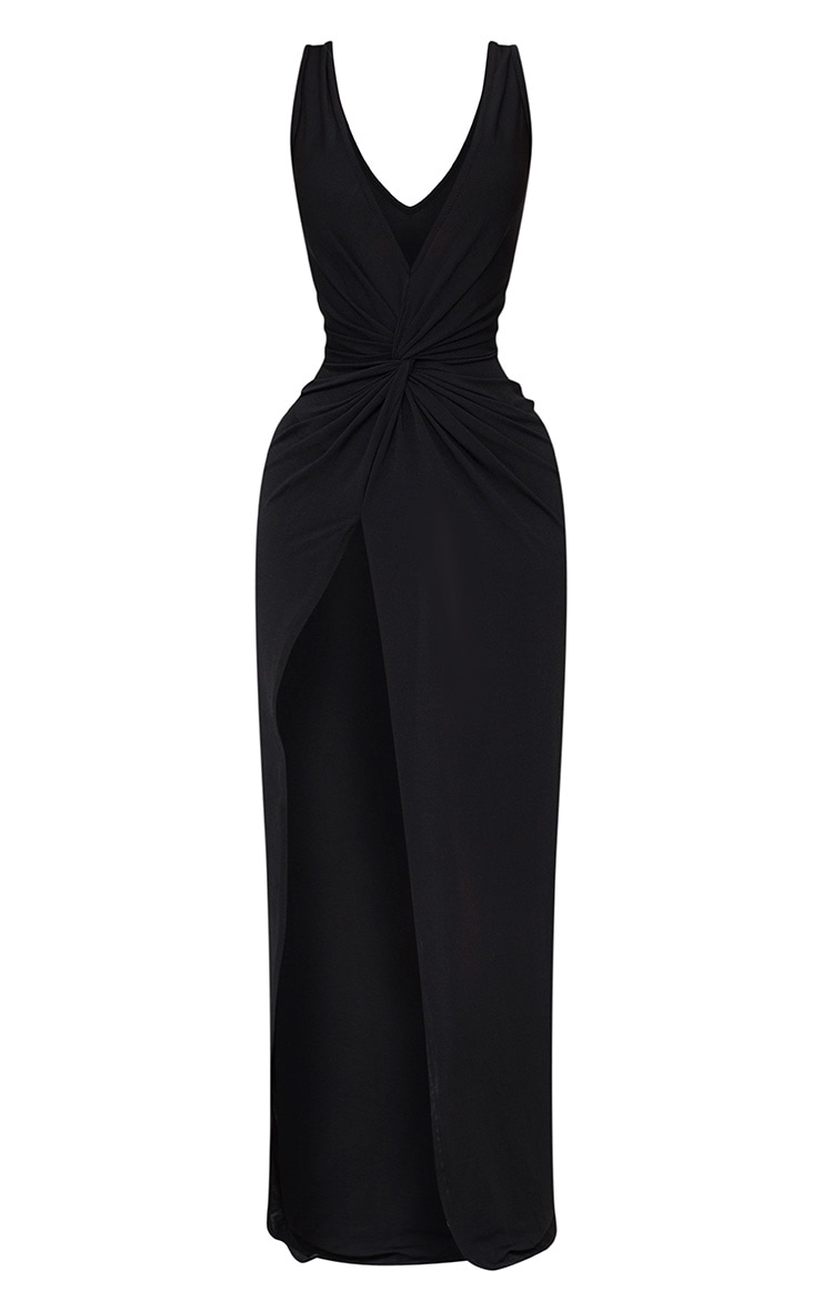 Shape Black Slinky Wrap Detail Maxi Dress 2