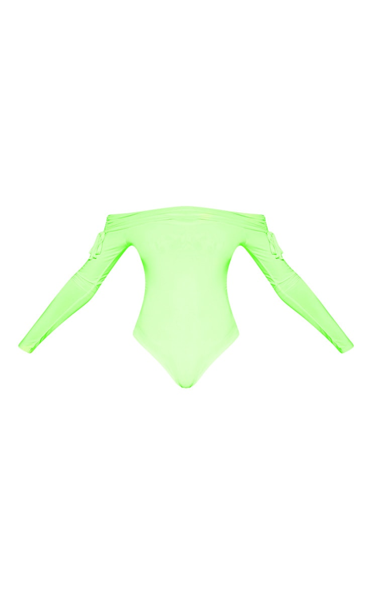 Tall Lime Green Slinky Ruched Bardot Bodysuit  4