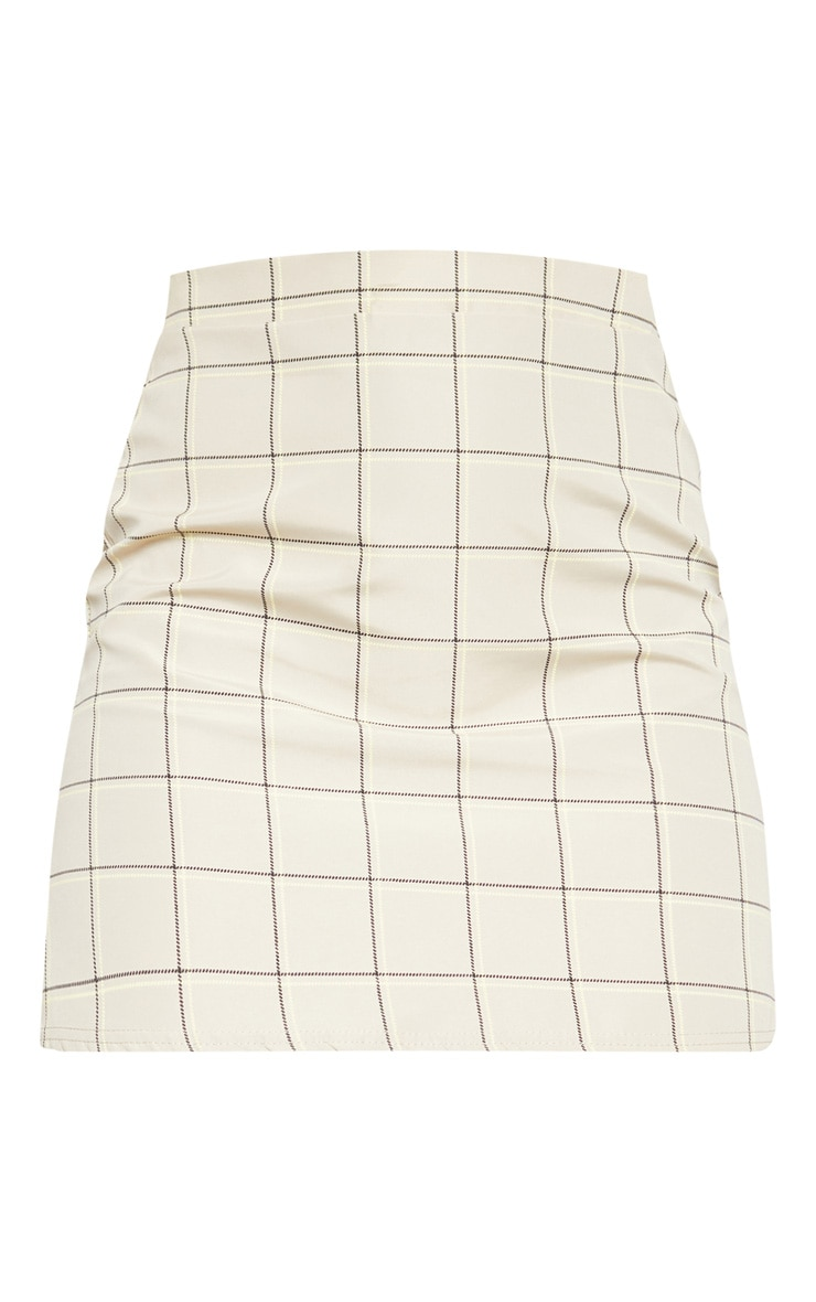 Stone Woven Check A Line Skirt  3