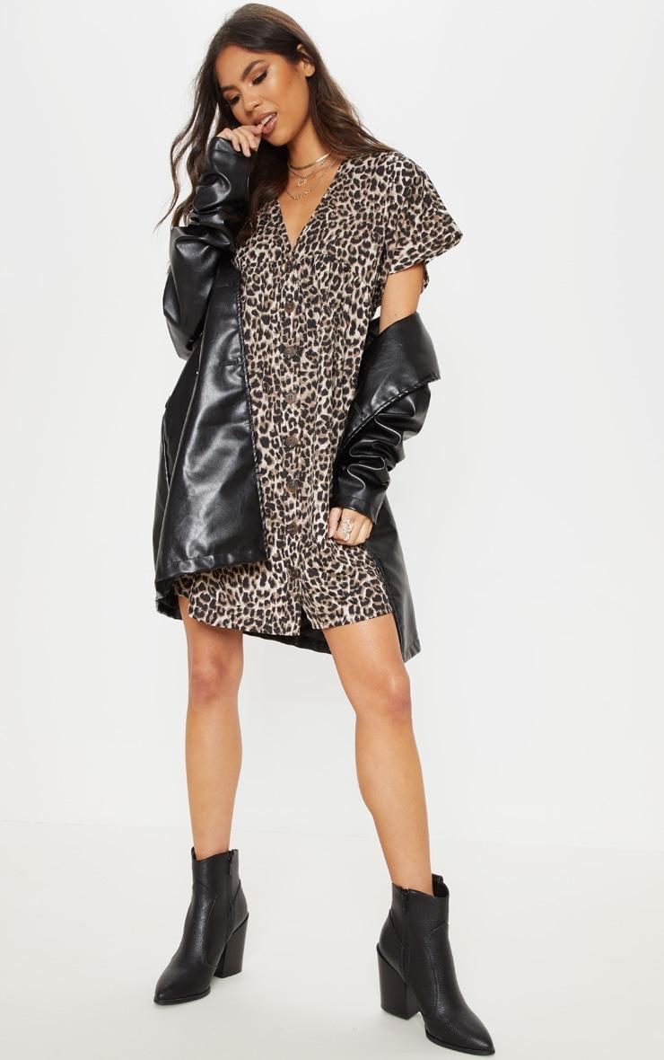 Brown Leopard Print Button Smock Dress 1