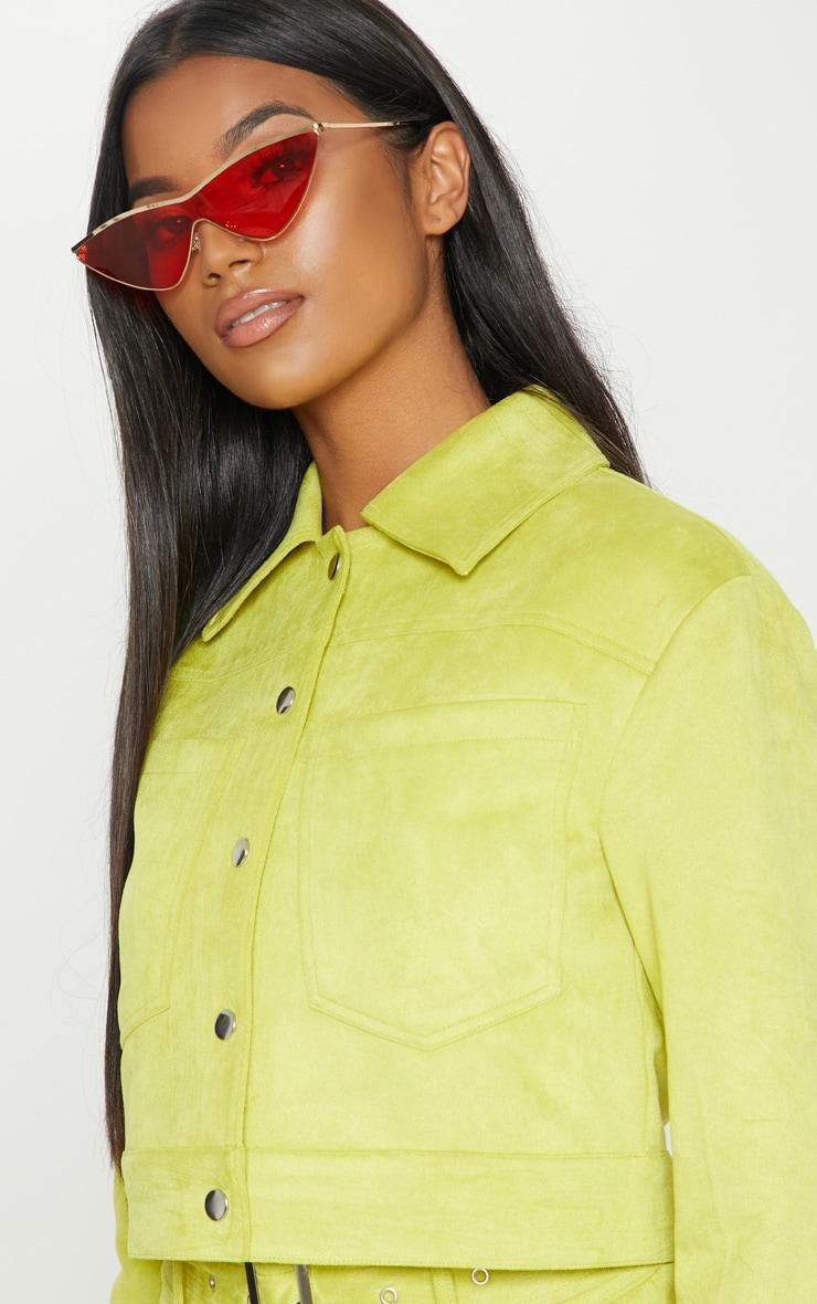 Lime Green Bonded Suede Crop Jacket 6