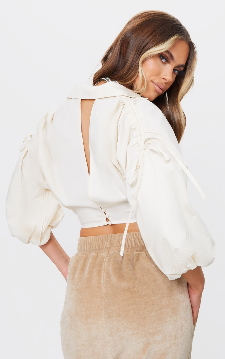 Cream Woven Plunge Ruched Sleeve Cropped Blouse 2