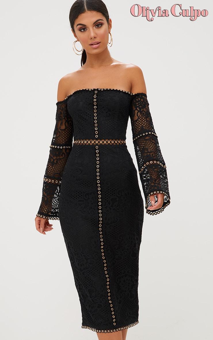 Black Lace Eyelet Detail Bardot Midi Dress  1