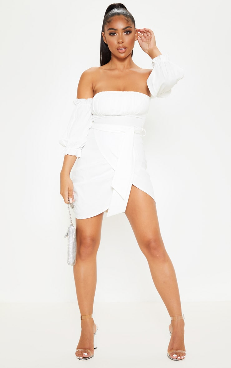 Petite White Bardot Tie Front Wrap Mini Dress 4