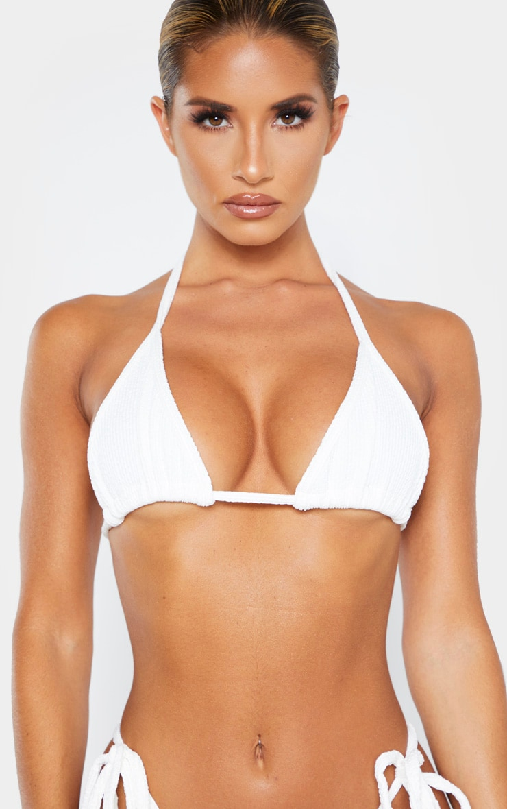 Cream Soft Crinkle Triangle Bikini Top 5