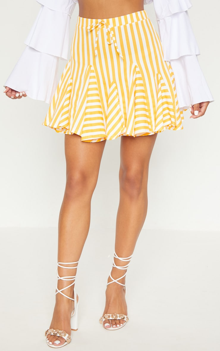 Orange Stripe Full Hem Mini Skirt 2