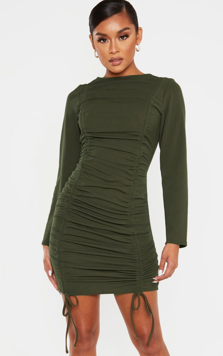 Khaki Long Sleeve Ruched Bodycon Dress 1