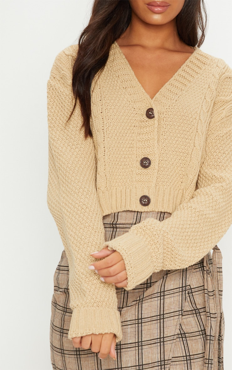 Camel Cable Cropped Cardigan 6