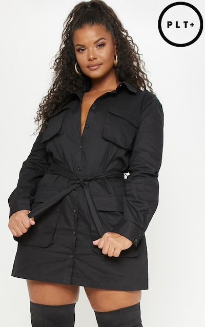 1b5804700ee Plus Black Utility Shirt Dress
