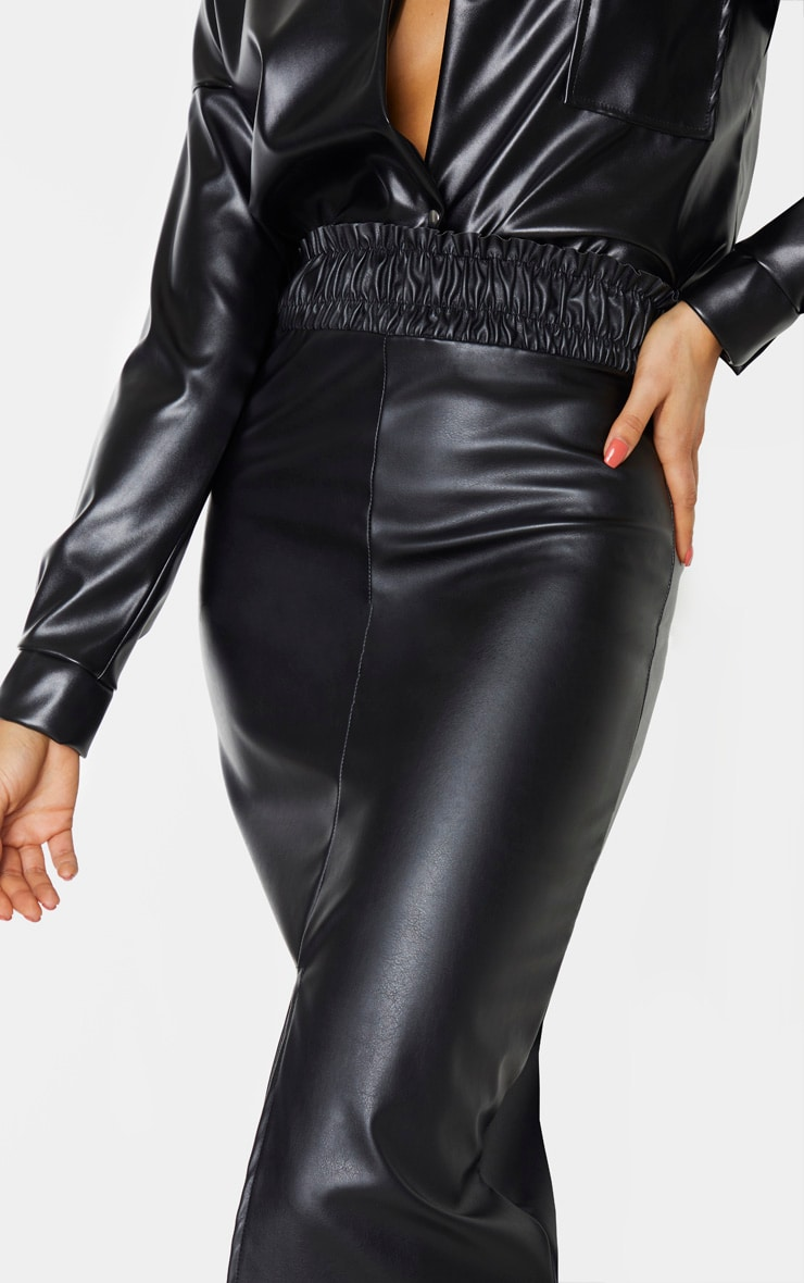 Tall Black Ruched Waist PU Midi Skirt 4