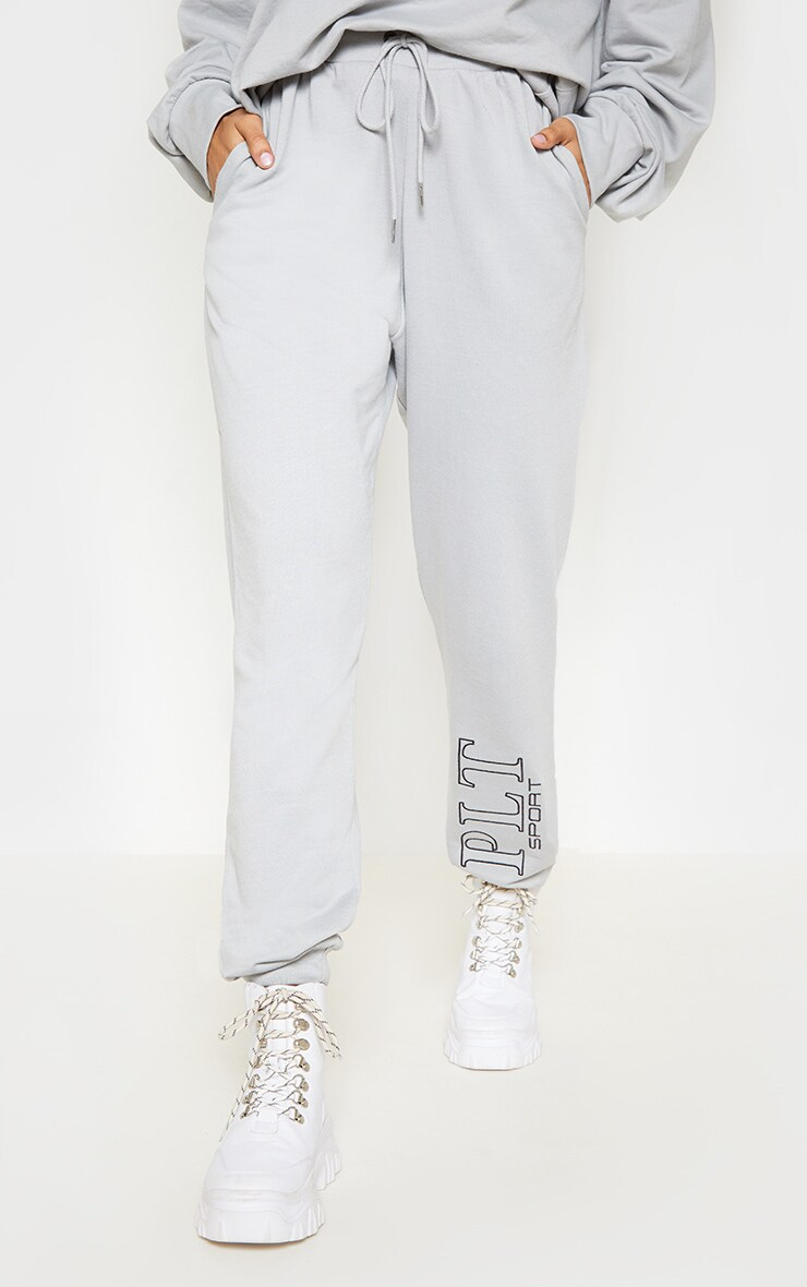 PRETTYLITTLETHING Grey Embroidered Casual Joggers 2