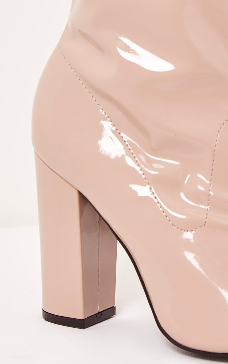 Malina Nude Patent Peep Toe Heeled Ankle Boots 6