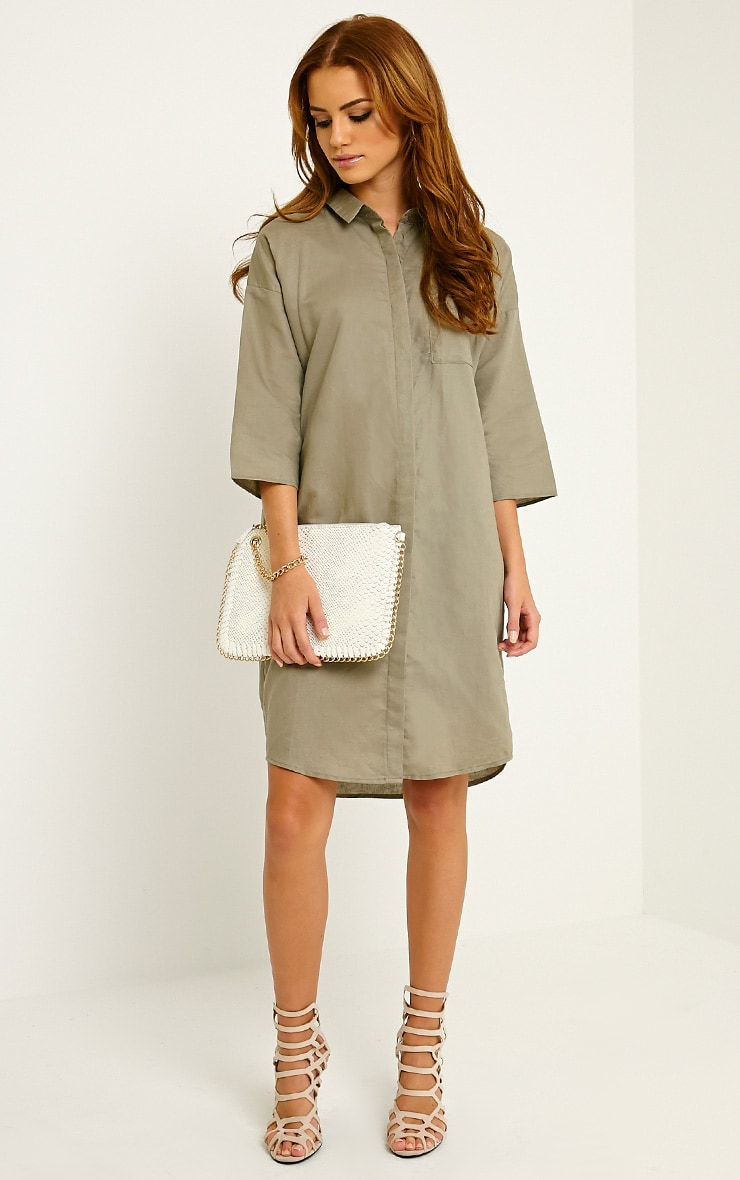 Franca Khaki Oversized Shirt Dress 3