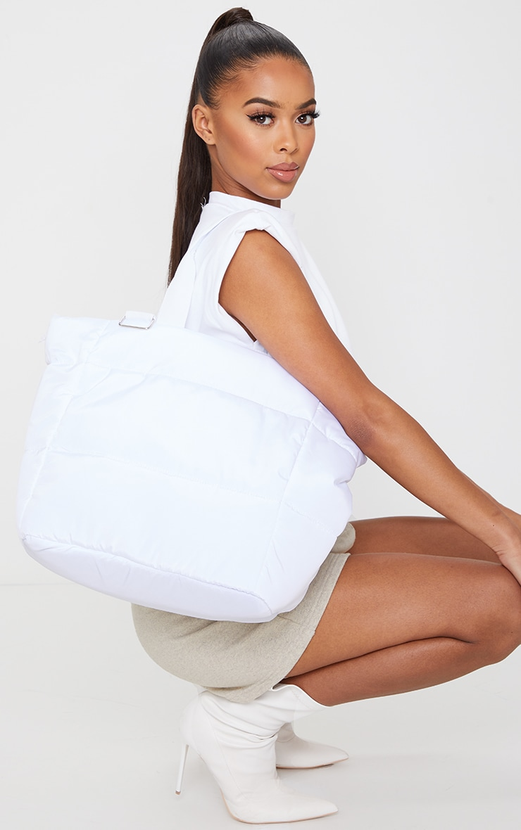 White Oversized Quilted Tote Bag 1
