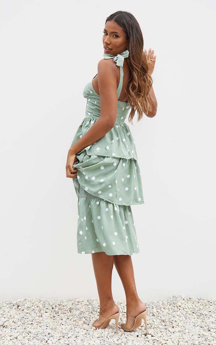 Sage Green Polka Dot Cup Detail Tie Strap Tiered Midi Dress 2