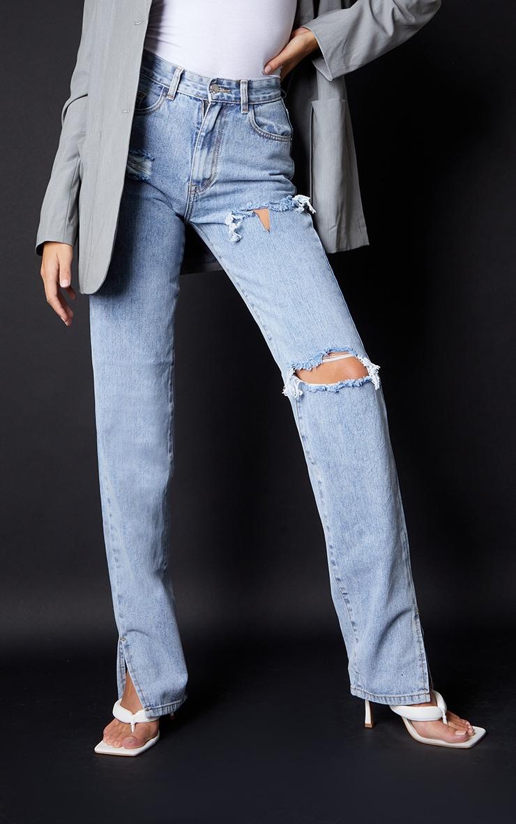 Tall Bleach Wash Ripped Split Hem Jeans 2