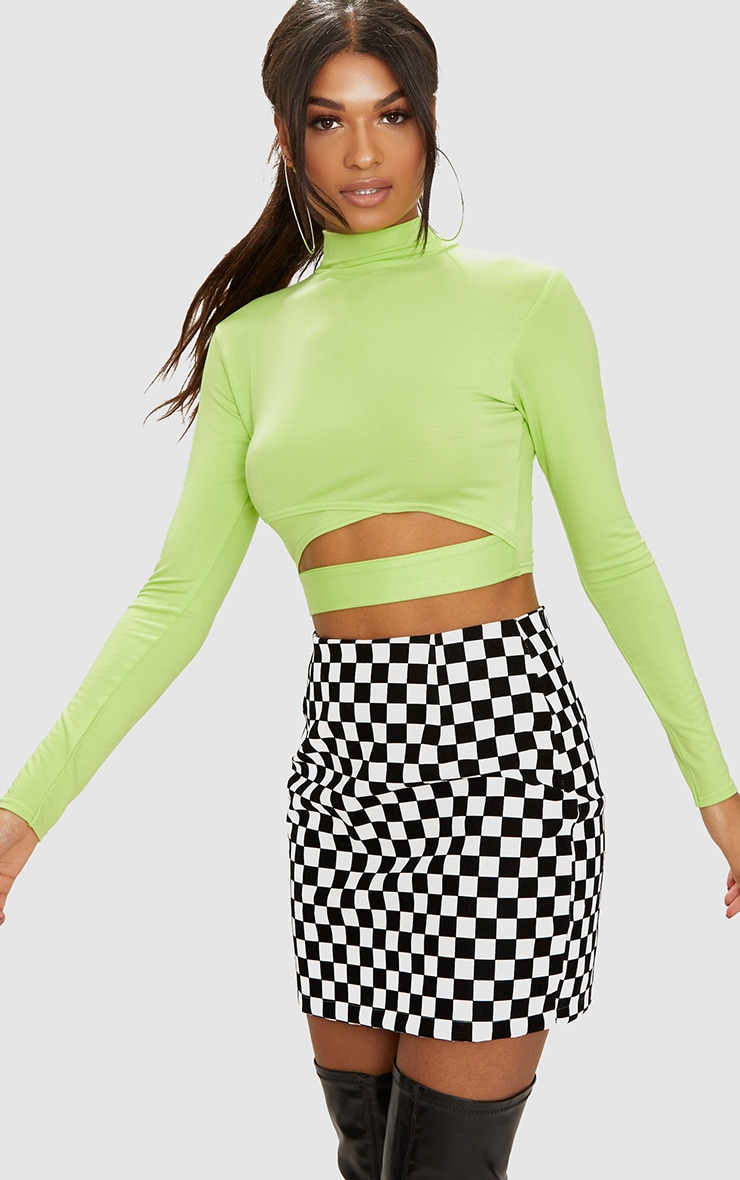 Lime Jersey Open Front Long Sleeve Crop Top 1