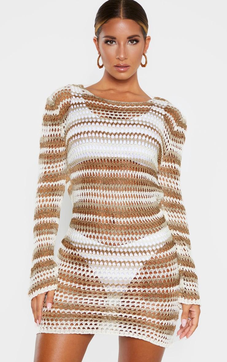 Stone Crochet Stripe Detail Knitted Dress  1