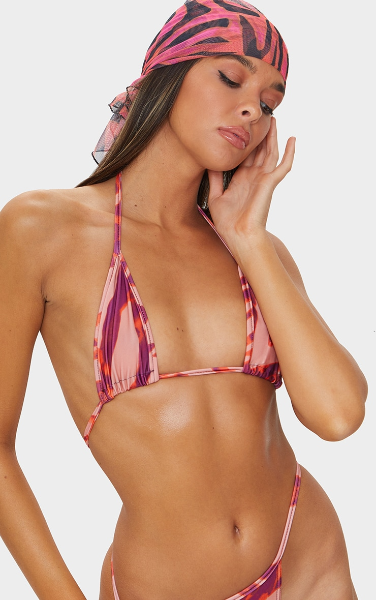 Orange Zebra Print Triangle Bikini Top 4