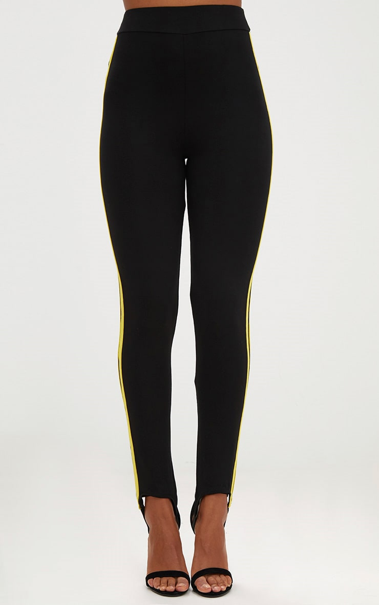 Black Track Stripe Stirrup Leggings 2