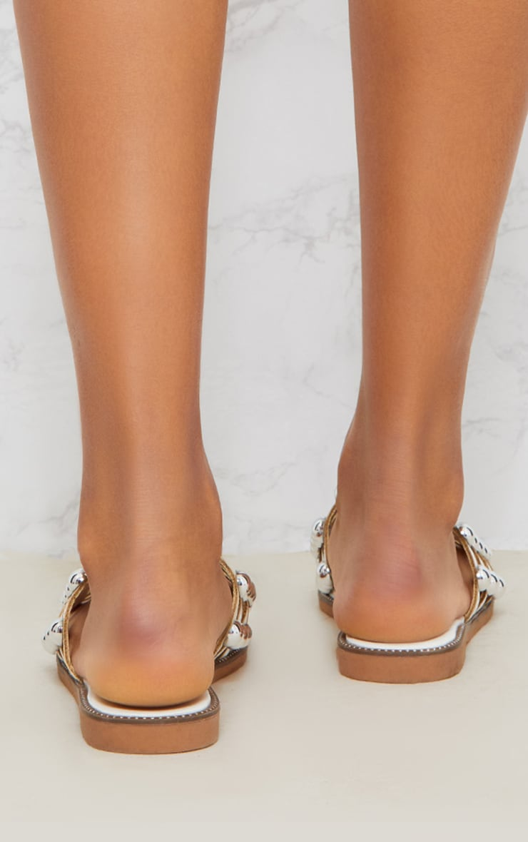 Alisa White Large Studded Sliders 4