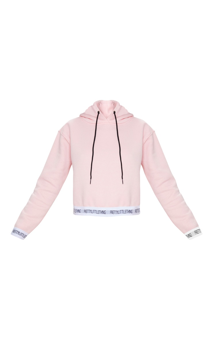 PRETTYLITTLETHING Baby Pink Trim Cropped Hoodie 5