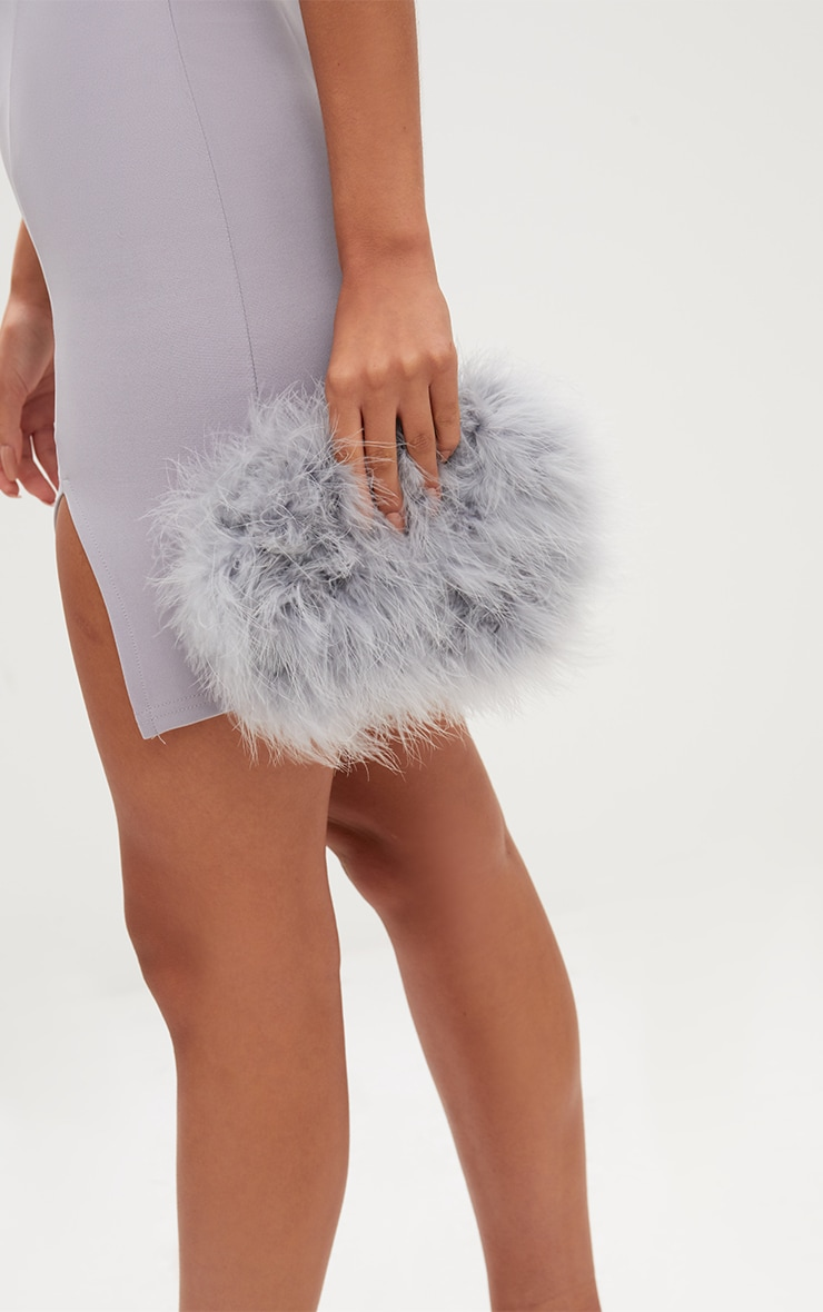 Grey Marabou Feather Clutch Bag 2
