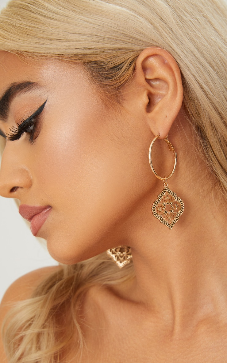 Gold Ornate Pendant Hoop Earrings 2