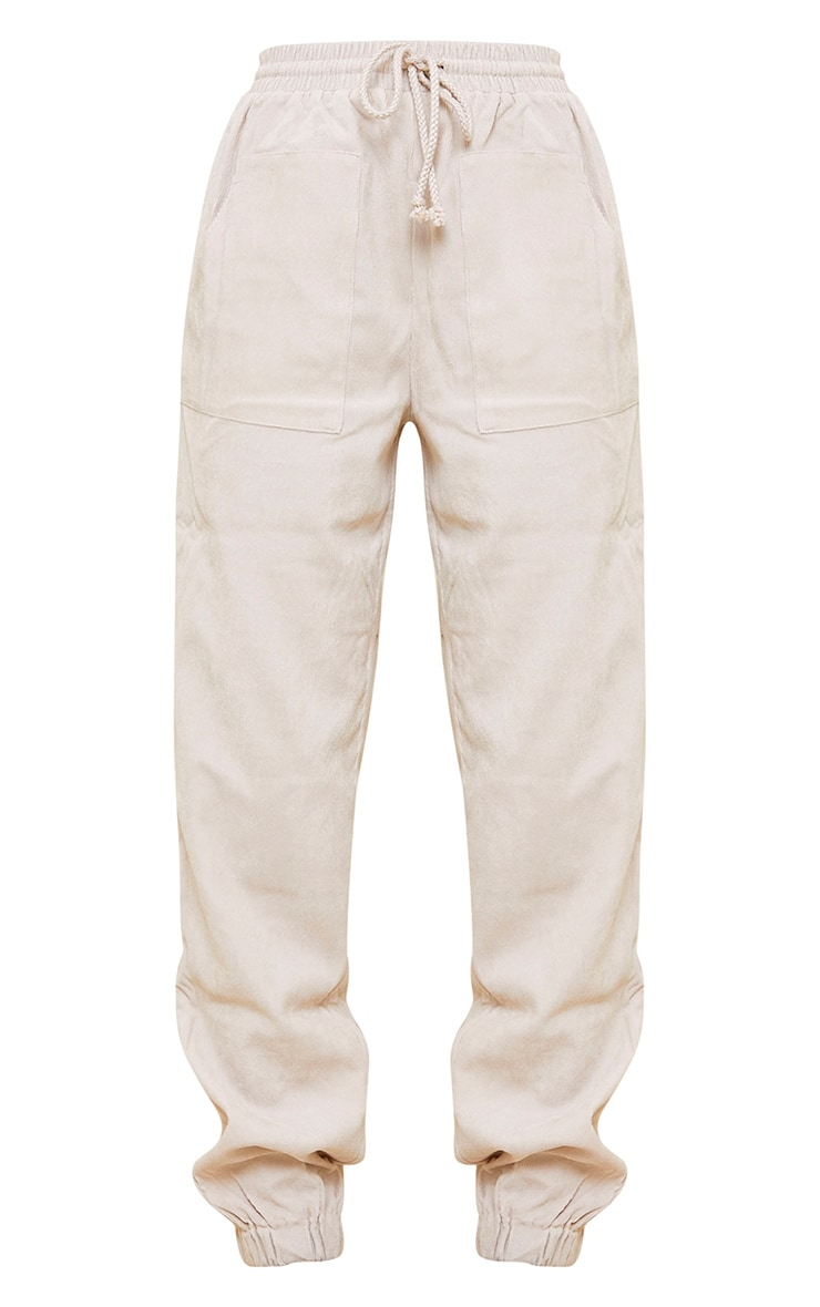 Cream Cord Pocket Detail Casual Joggers 5