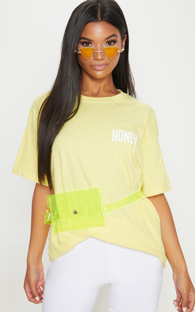 Yellow Honey Slogan Oversized T Shirt  1