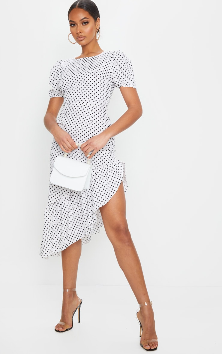 White Polka Dot Short Sleeve Frill Hem Midi Dress 3