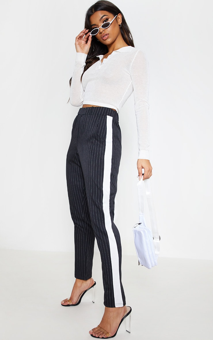 Black Pinstripe Formal Side Stripe Trouser 1