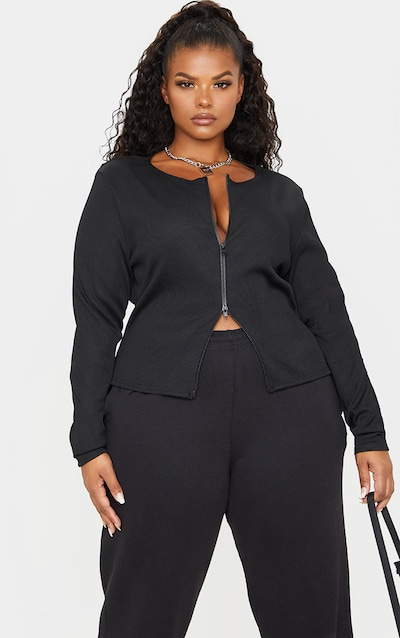 Plus Black Jumbo Rib Double Zip Top
