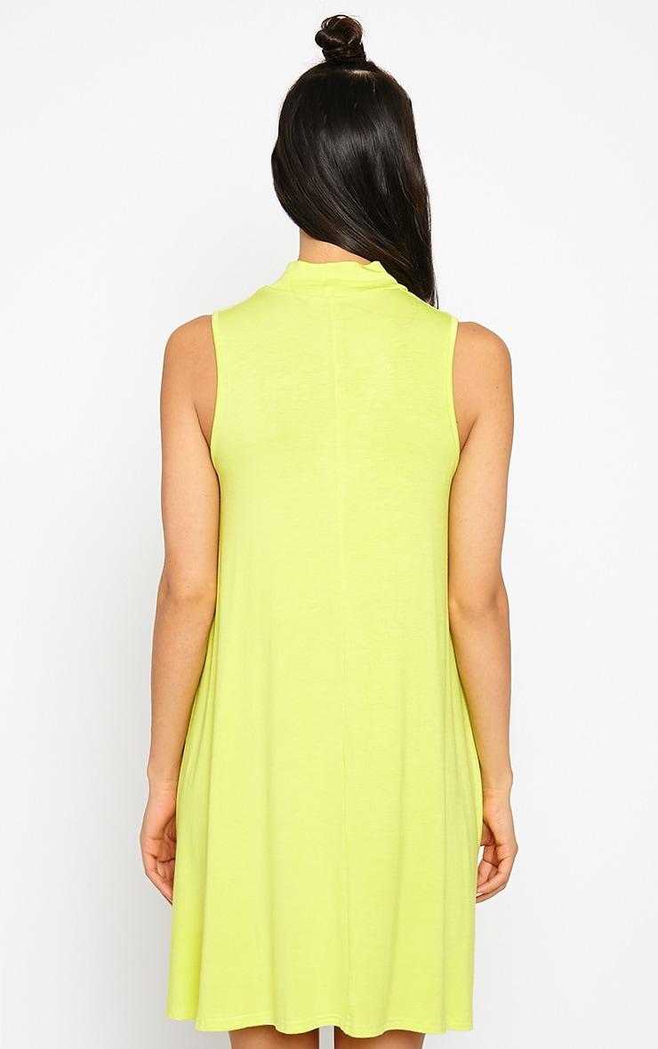 Aishha Lime High Neck Jersey Swing Dress 2