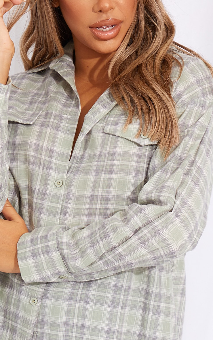 Sage Checked Oversized Pocket Detail Shirt 4