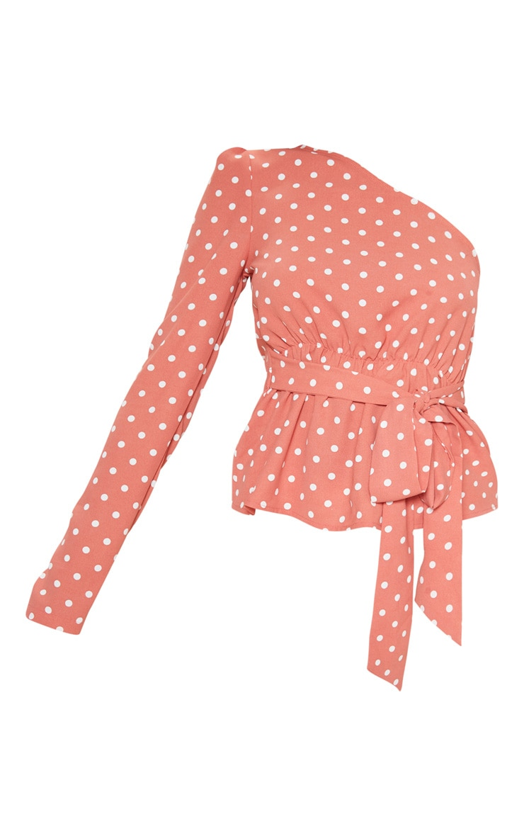 Peach Polka Dot One Shoulder Belted Blouse 3