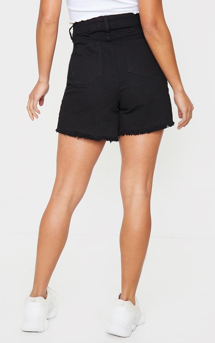 Petite Black Frayed Hem Distressed Denim Shorts 3