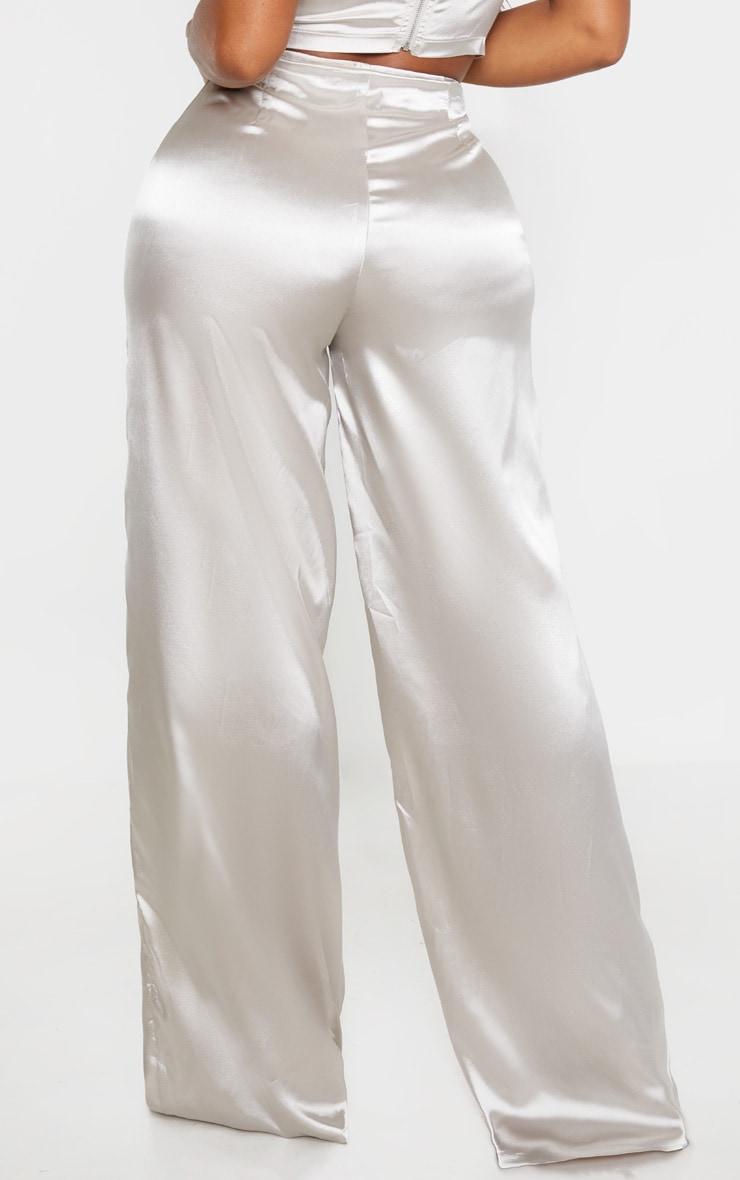 Shape Silver Satin Seam Detail Wide Leg Trouser 4