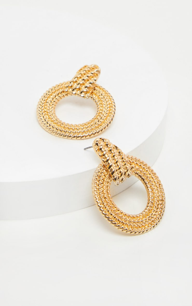 Gold Rope Effect Round Door Knocker Earrings 2